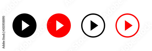 Play button vector icon isolated on white background Canvas-taulu