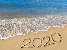 Sea, Sky, Clouds, Sand, Footprints, Inscription 2020,