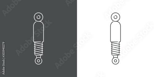 Photo Icono plano lineal amortiguador en fondo gris y fondo blanco