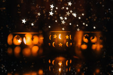 Beautiful Candle Light With Stars And Moon. Christmas Concept.