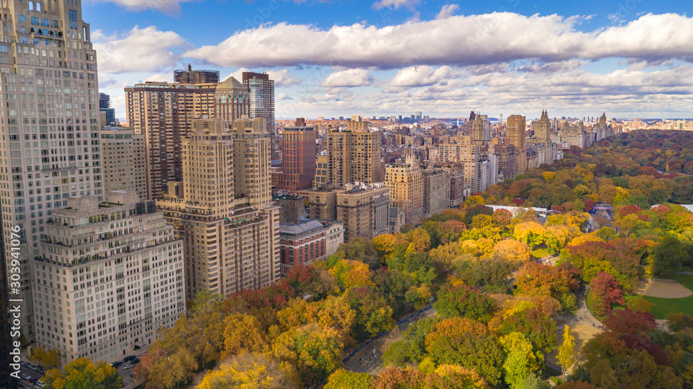 Fototapety, obrazy: Fall Color Autumn Season Buildings of Central Park West NYC