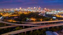 Early Morning Traffic Creates Light Streak In Long Exposure In Nashville Tennessee