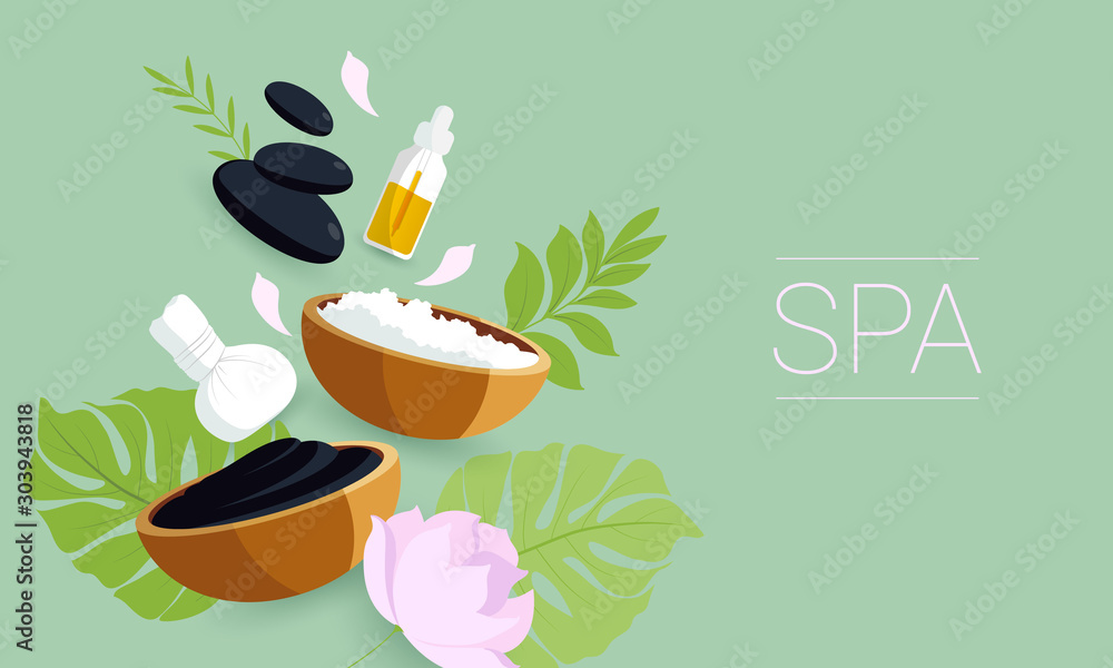 Fototapeta Spa set elements. Dead sea mud, black stones for massage, green tropical leafs  on green background.