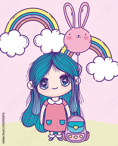 anime cute girl rabbit shape balloon rainbows bag outdoor