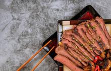 Teriyaki Beef Red Bell Peppers And Mushrooms, Japanese Food Style