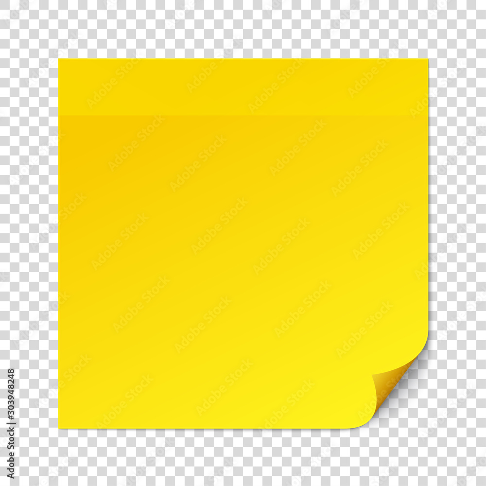 Fototapeta Yellow sticky note on transparent texture background. Removable self-stick note. Reminder list, message stick, remember task. Office paper sticker. Vector