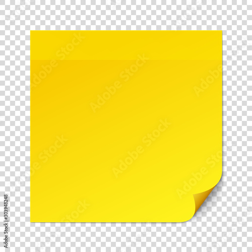 Fotografía Yellow sticky note on transparent texture background