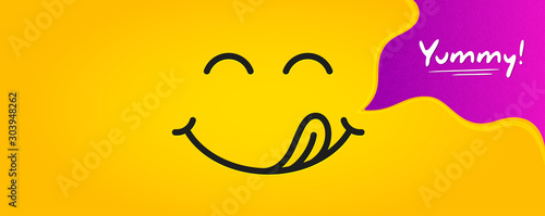 Fototapeta Yummy smile emoticon with tongue lick mouth. Tasty food eating emoji face. Delicious cartoon with saliva drops on yellow background. Smile face line design. Savory gourmet. Yummy vector obraz