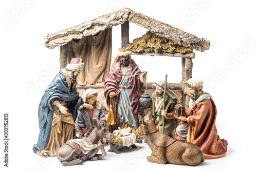 Photo Three Wise Kings and Holy Family Christmas Ceramic Figurines