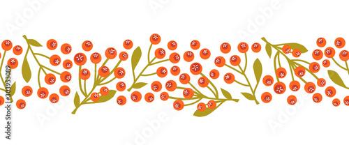 Pinturas sobre lienzo  Christmas mistletoes seamless vector border