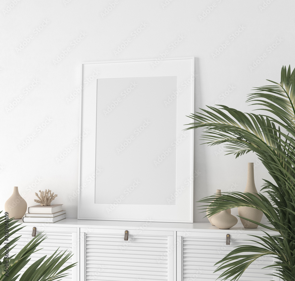 Fototapety, obrazy: Poster mock up closeup in white room, 3d render