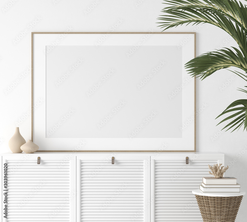 Fototapeta Poster mock up closeup in white room, 3d render