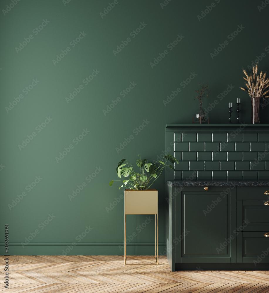 Fototapety, obrazy: Modern dark deep green kitchen interior, wall mock up, 3d render