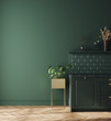 Modern dark deep green kitchen interior, wall mock up, 3d render