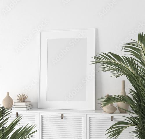 Fototapeta  Poster mock up closeup in white room, 3d render