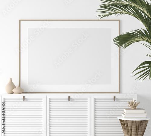 Fotomural  Poster mock up closeup in white room, 3d render