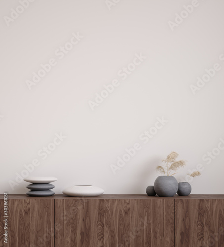 Wall mock up closeup with stones and grass in vase on cupboard, 3d render Wallpaper Mural