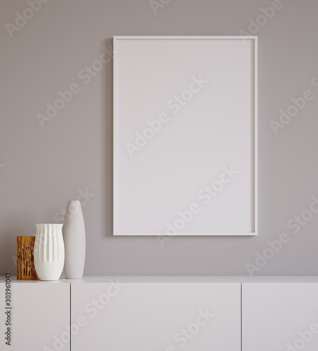 Poster mock up closeup with vases on chest of drawers,minimalist design, 3d rend Canvas Print