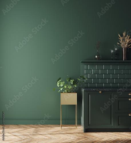 Obraz Modern dark deep green kitchen interior, wall mock up, 3d render - fototapety do salonu