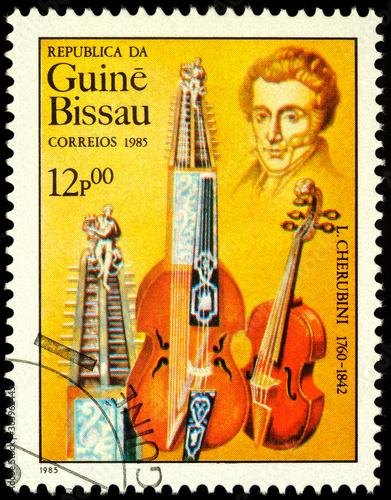 Photographie  Italian composer Luigi Cherubini on postage stamp