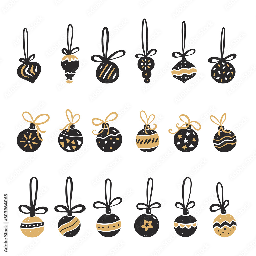 Fototapeta Set of Christmas balls in black and gold style. Vector illustration in hand drawn of style.
