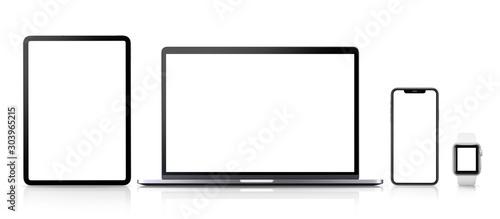 Obraz na plátne  スマートウオッチ、スマートフォン、ノートパソコン、タブレット端末の画面合成用素材