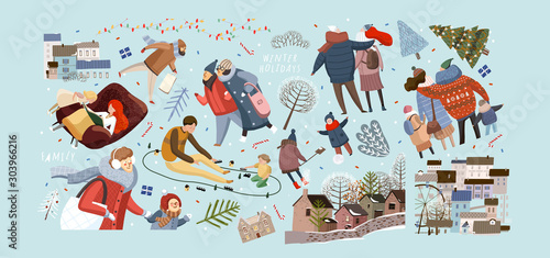 Foto auf AluDibond Licht blau Winter family holidays. Vector isolated illustrations of family and people shopping in the New Year and Christmas, walking in the city and at home in the living room. Drawings of the city and the hous