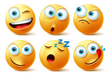 Emoticon Faces Vector Set. Emoticons Of Yellow Face In Naughty, Sleepy, Hungry, Surprise And Angry In 3d Realistic Avatar Isolated In White Background. Vector Illustration.