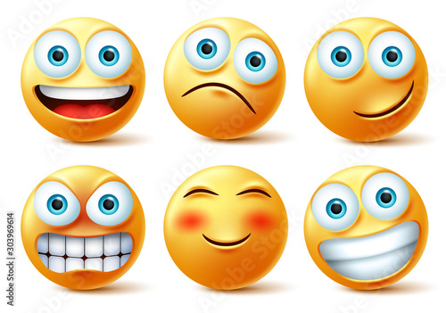 Emojis and emoticons face vector set. Emoji cute faces in happy, angry and funny facial expression isolated in white background. Vector illustration.