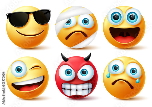 Emoticon or emoji face vector set.Emojis yellow face icon and emoticons in devil, injured, surprise, angry and funny facial expressions isolated in white background. Vector illustration.