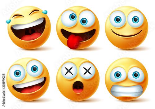Emoji and emoticon faces vector set Tableau sur Toile