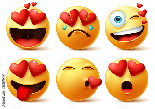 фотография Emoticon and emoji with heart vector faces set