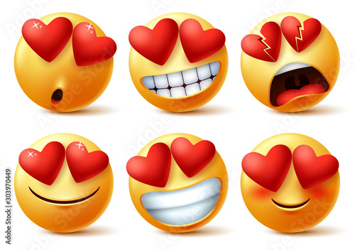 Emoticons or emojis face with heart eye vector set Wallpaper Mural
