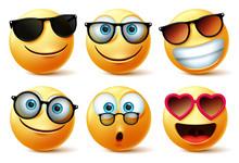 Emoji Or Emoticon Faces Wearin...