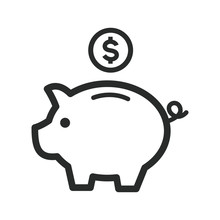 Piggy Bank Icon Vector Template