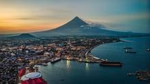 Mayon Volcano Sea Scape In Port Of Legazpi City Albay Philippines