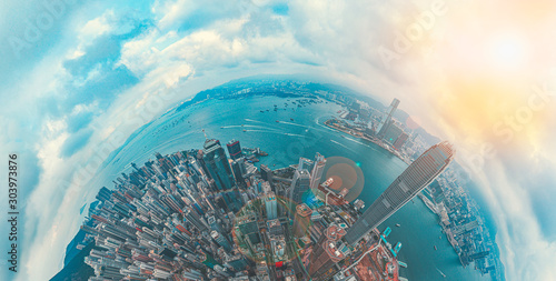 Fototapeta Hong Kong Architectures view from high angle obraz