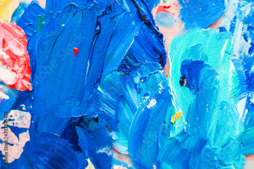 Canvastavla  Abstract acrylic paint strokes, art brush flatlay background