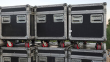 Stacked Road Cases At A/V Event