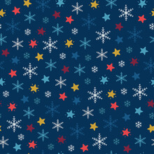 Christmas Seamless Pattern With Multicolored Snowflakes And Stars On Navy Blue Background.