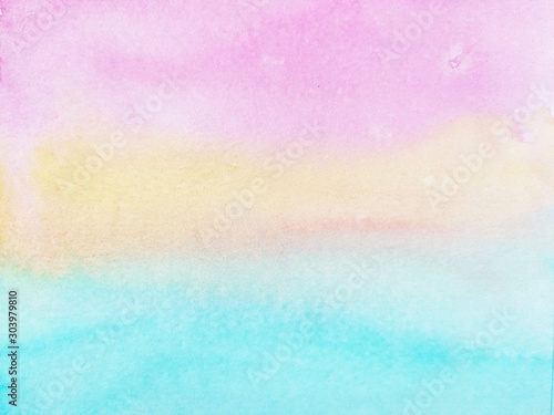 Obraz watercolor hand drawn on paper pastel background pink yellow and blue.  - fototapety do salonu