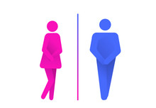 Toilet Symbols, Man And Woman Sanitary Restroom. WC Sign. Urinary Incontinence, Bladder Problems. Funny Vector Illustration Isolated On White Background.