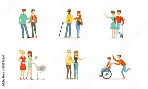 Disabled and Old People and Friends Helping Them Vector Illustrations Canvas Print