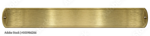 Fotografie, Obraz Gold or brass brushed metal plate isolated with clipping path included