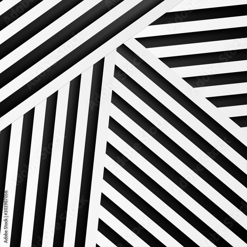 Abstract minimal background with black and white stripes. Vector geometric design