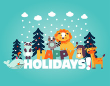 Winter Holiday Lovely Vector Card With Funny Cute Animals, Blue Sky, Snowflakes, Clouds And Christmas Trees. Ideal For Cards, Invitations, Party, Kindergarten, Preschool And Children Room Decoration