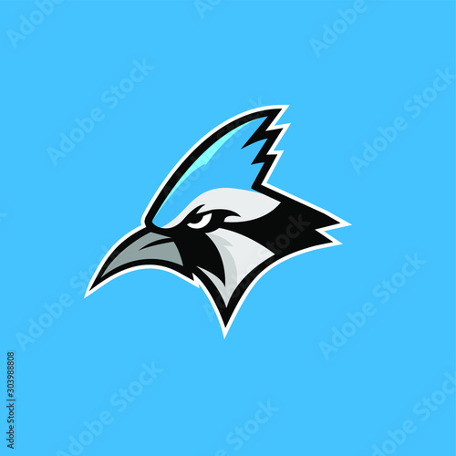 Fotografie, Tablou blue jay bird color head mascot logo icon designs vector illustration