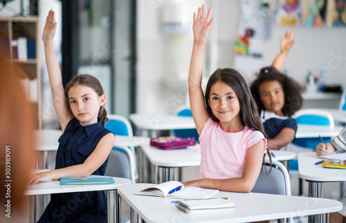 School children sitting at the desk in classroom on the lesson, raising hands Canvas Print