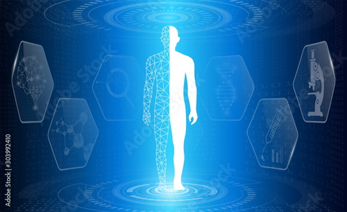 Fototapeta  abstract background technology concept in blue light,brain and human body heal ,