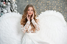 Beautiful Young Angel Woman Wi...